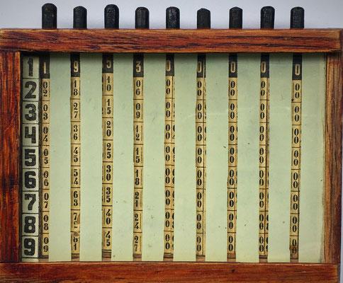 Ábaco multiplicativo de cilindros de Napier, sistema V. M. Khudyakov, hecho en Rusia, año 1931, 12x9x2 cm