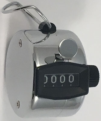 Contador de 4 dígitos DASA CG, sin s/n, distribuido por Dasa Metalúrgica Srl (Buenos Aires, Argentina), 4 cm diámetro