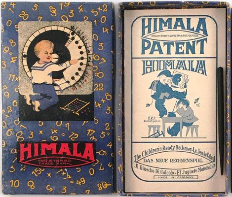 La caja de cartón (18x10 cm) para guardar la calculadora HIMALA, el folleto de instrucciones y  el punzón