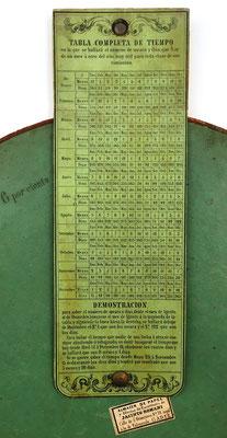 Reverso de la tabla de interés SOLER y CASSAÑAS