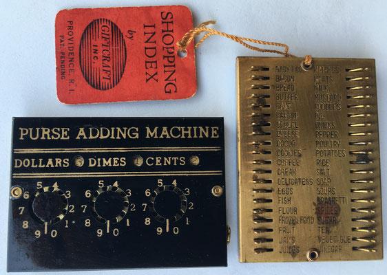 PURSE ADDING MACHINE aparato para contabilidad familiar en la compra, versión de SHOP-N-ADD, hacia 1930