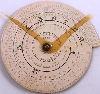 Regla espiral LOGZ, modelo comercial C3, fabricada en Francia, s/n 3265658, año 1930, 20 cm diámetro