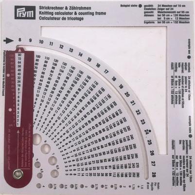 Calculador de tricotar y bastidor-contador marca PRYM, fabricado en China para el mercado europeo, 15x15 cm