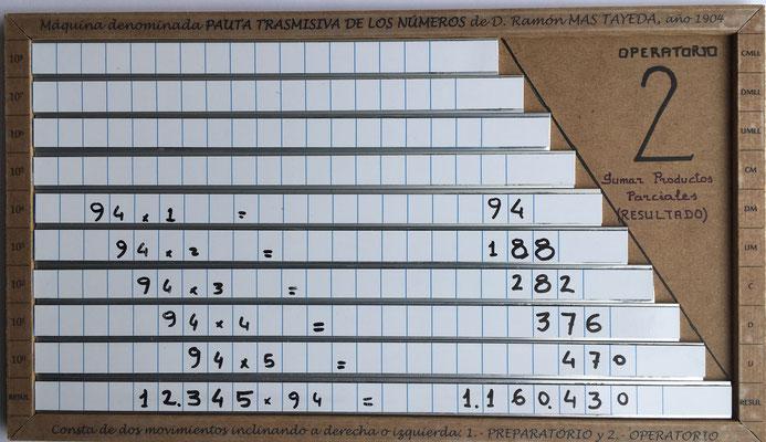 Posición 2, movimiento Operatorio: sumar los productos parciales para obtener el resultado final del producto