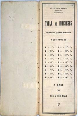 Libro de cuentas TABLA DE INTERESES, Francisco Barris, Barcelona, 9x27 cm