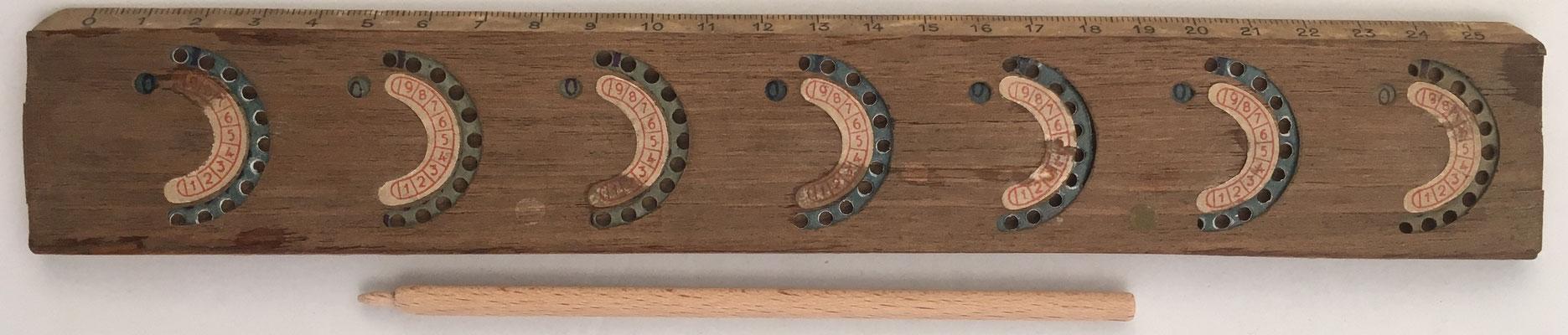 Regla Sumadora (ábaco de círculos) hecha en España, 27x4cm