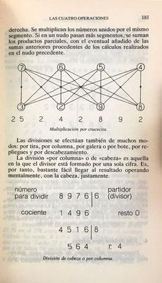 """La multiplicación """"por crucecita"""" descrita en el Liber Abbaci de Leonardo Pisano. El libro cita además otras técnicas de multiplicación: en cuadrilátero, en triángulo, en rombo, en diamante, en pirámide, etc."""