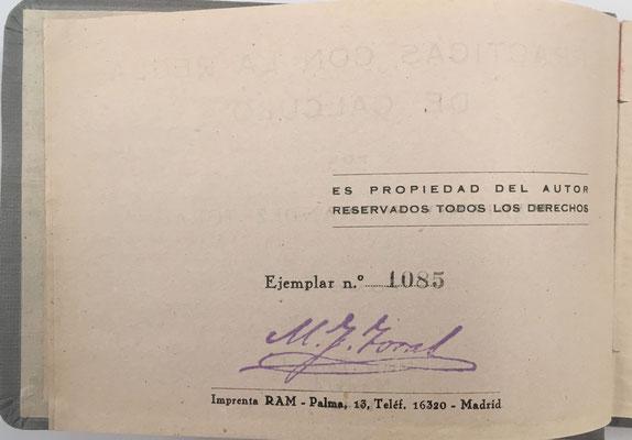 Volúmen I de PRÁCTICAS CON LA REGLA DE CÁLCULO de FERNÁNDEZ TORAL, ejemplar nº 1085, año 1942, 273 páginas
