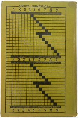 """La máquina """"Pauta Trasmisiva de los Números"""" se sustituye ahora por el cuadro """"Pauta Numérica"""" de la contraportada, que hace las mismas funciones para realizar cualquier multiplicación reduciéndola a la suma de sus productos parciales"""