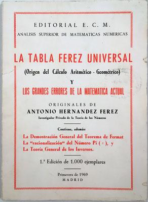 TABLA FEREZ UNIVERSAL, Antonio Hernández Férez, año 1969, 130 páginas, 15x21 cm