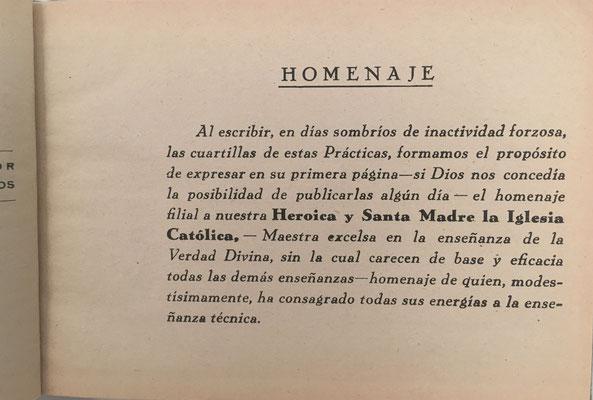 Dedicatoria en los volúmenes de PRÁCTICAS CON LA REGLA DE CÁLCULO de FERNÁNDEZ TORAL