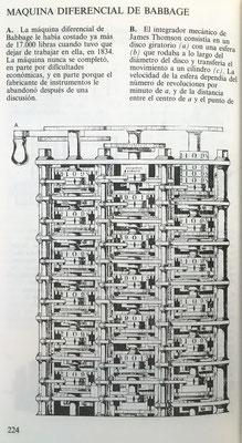 Máquina diferencial de Charles Babbage, cuya construcción abandonó en 1834 por dificultades económicas y de materiales