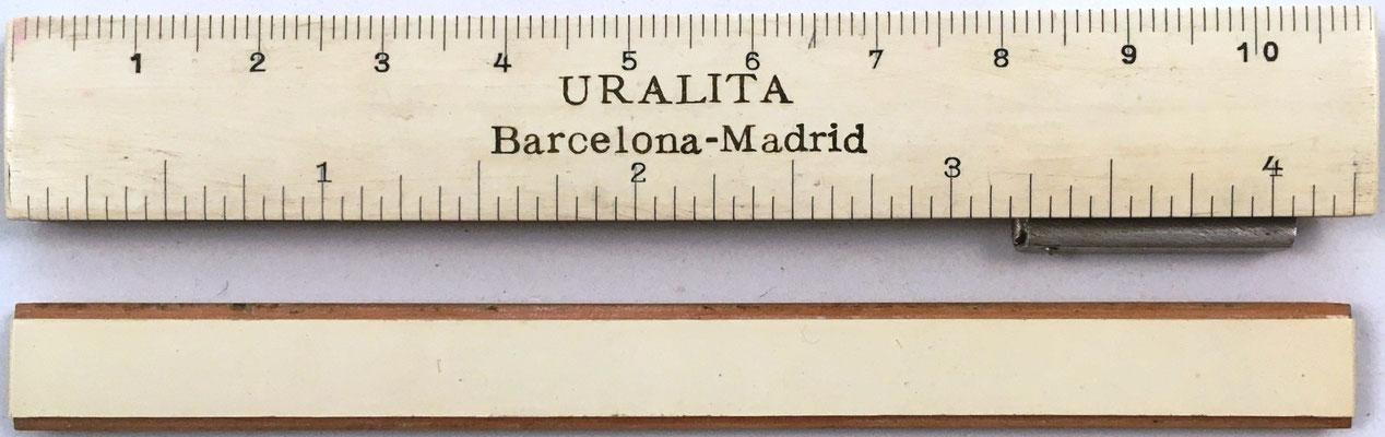 Reverso de la mini regla URALITA S.A (A. Nestler A.-G. nº 42), Madrid-Barcelona, y de la reglilla
