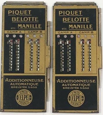 Pareja de ábacos de ranuras (uno para cada jugador o equipo: camp A, camp B) para utilizar como anotadores en los juegos de cartas PIQUET, BELOTTE, MANILLE, etc, fabricado por Le Girondin-Unis France, Elpe (2-193), sin s/n, año 1926, 6.5x15 cm