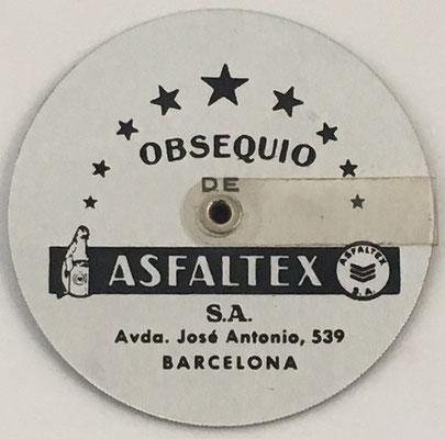 Reverso de la regla de cálculo obsequio de ASFALTEX S. A. (Barcelona)