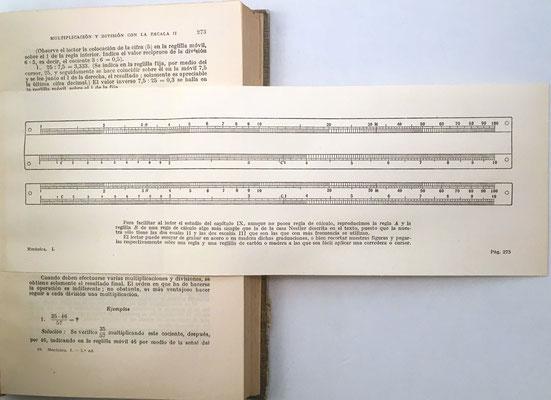 El libro contiene una lámina recortable para que el lector pueda construir su propia regla de cálculo