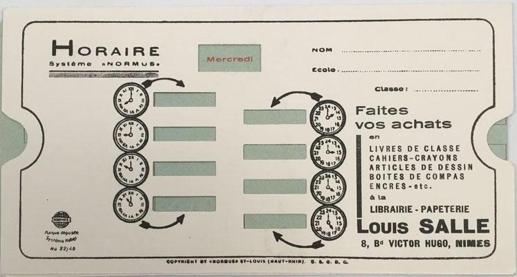 Reverso de la regla para multiplicación NORMUS para horario escolar semanal