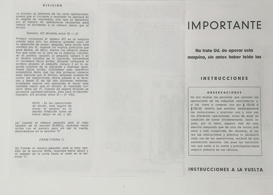 Instrucciones en español para el uso de WIZARD, anverso