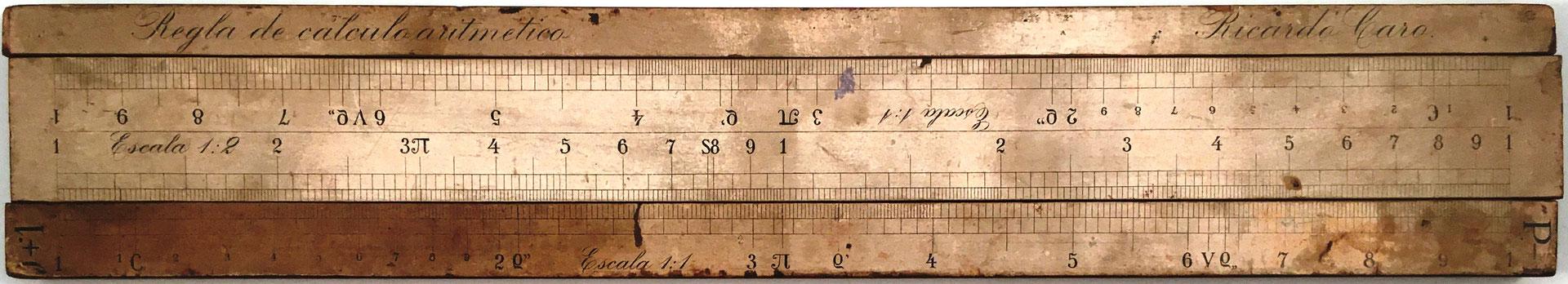 Regla de cálculo aritmético R. CARO, escala 1:2 (cuadrados) frente a la escala 1:1 (números)