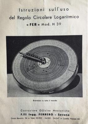 Instrucciones de uso del Regolo Circolare Logaritmico FER