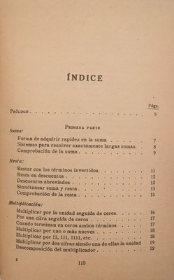 Índice del Manual Práctico de CÁLCULOS ABREVIADOS, 1ª parte: operaciones elementales y complejas