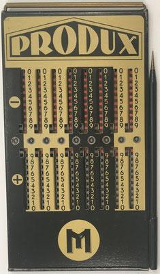 Ábaco de ranuras PRODUX M, fabricado por Otto Meuter & Sons (Alemania), año 1928, 9x16 cm