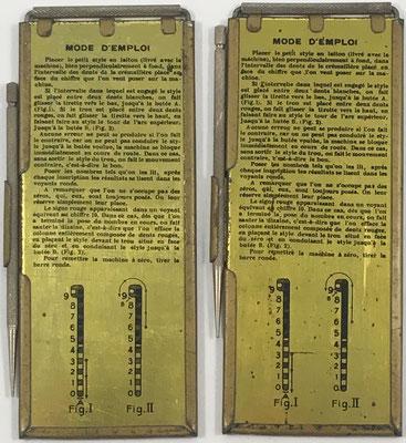 Reverso de la pareja de anotadores, con instrucciones de uso para el juego de cartas PIQUET, BELOTTE, MANILLE, etc.