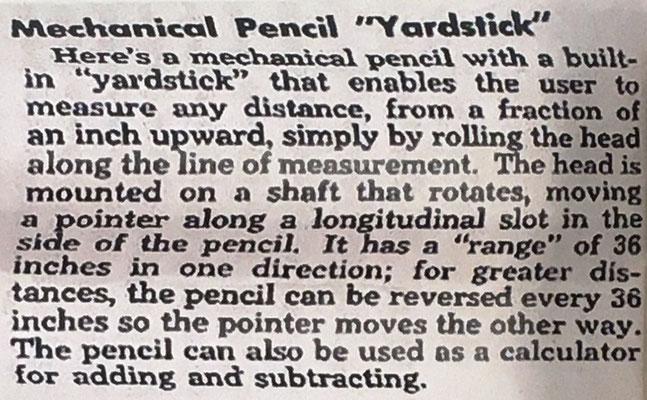 """Instrucciones de uso para el opisómetro ROLLER RULE, Mechanical Pencil """"YARDSTICK"""", puede utilizarse también para hacer sumas y restas"""