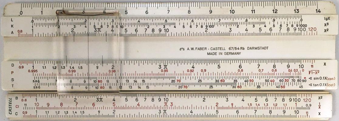 Anverso de la regla combinada FABER-CASTELL 67/54 rb y de la reglilla, sistema Darmstadt para ingenieros, matemáticos, físicos y químicos