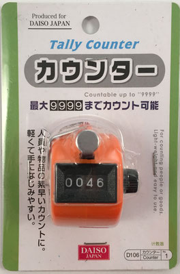 Contador de 3 dígitos 'DAISO' Tally Register, sin s/n, fabricado por Daiso Japan, hecho en China, año 2014, 4 cm diámetro