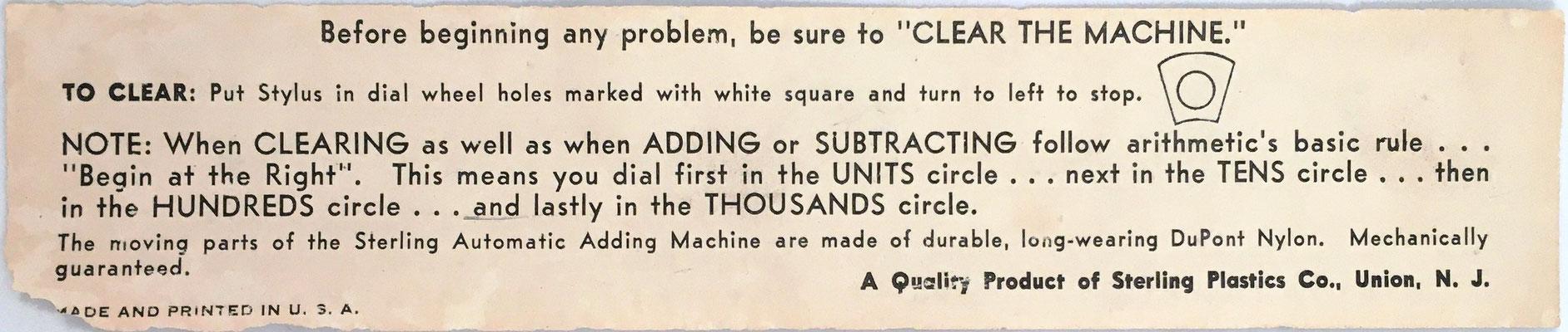 Instrucciones de uso para el DIAL-A-MATIC Adding Machine de la tapa del estuche, reverso