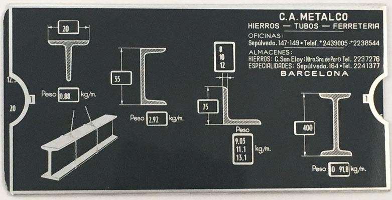 Regla para ferretería C. A. METALCO Compañía Anónima, Barcelona (España), 15x7 cm
