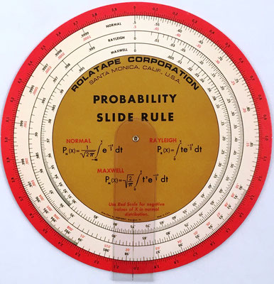 PROBABILITY SLIDE RULE, cartón, hecha por Rolatape Corporation (USA), año 1965, 16 cm diámetro