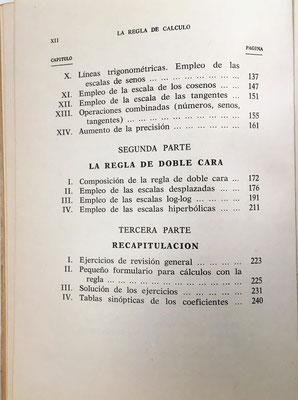 Índice del libro La Regla de Cálculo, R. Dudin, 1970