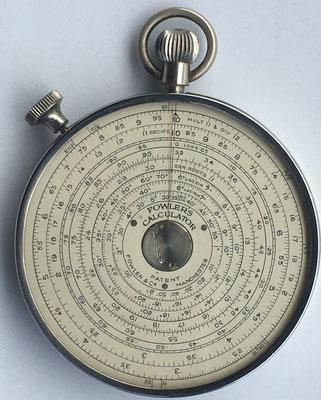 Reverso de la FOWLER'S Long Scale Calculator, hacia 1930