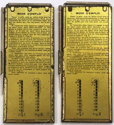 """Reverso de los ábacos de ranuras para restar """"MACHINE Á SOUSTRAIRE""""  ¿Qué utilidad y uso tendrían estas calculadoras? Sirven para ir restando cantidades a minuendos comprendidos entre 999.999 y 0"""