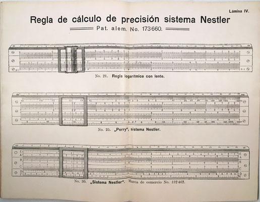 La lámina IV está dedicada a la regla de cálculo de precisión sistema Nestler presentada en el capítulo VI