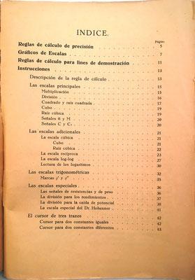 Índice del contenido. De la página 13 a la 43 se explica el uso de la regla de cálculo para principiantes