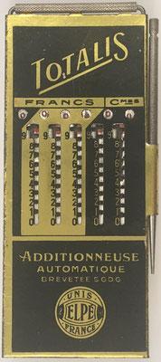 Ábaco de ranuras TOTALIS Elpé (similar a PICMA ) para moneda francesa, fabricado por Le Girondin-Unis (Unis =Union Nationale Inter Syndicale) France, Elpe (2-193), sin s/n, año 1926, 6.5x14.5 cm