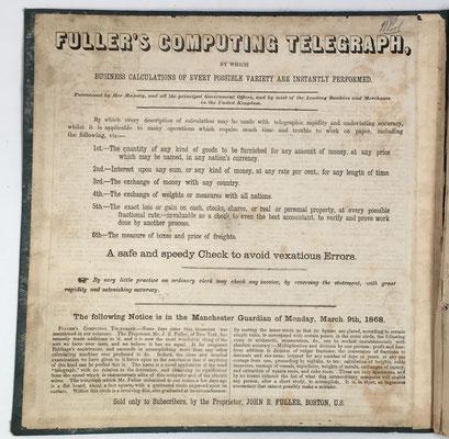 FULLER'S Computing Telegraph, primera página del folleto de instrucciones, año 1868 (25 páginas)