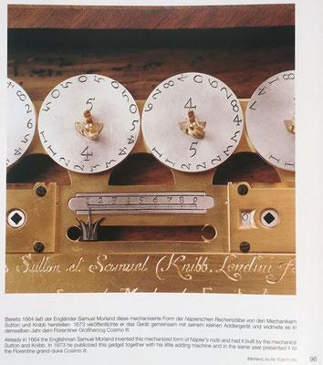 Calculadora del inglés Samuel Morland, huesos de Napier con las varillas dispuestas en círculos (en la foto, las varillas del 5 y del 4), del año 1664