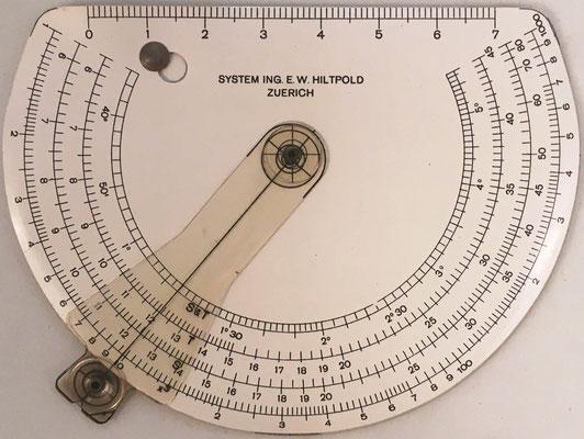 Reverso del Círculo de cálculo HILTPOLD, Sistema Ingeniero E. W. Hiltpold