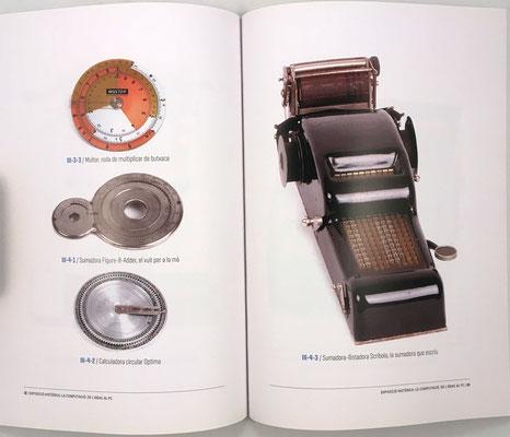 Páginas 32 y 33 del catálogo: regla de cálculo circular, sumadoras de contabilidad y ábaco de cadena Scribola