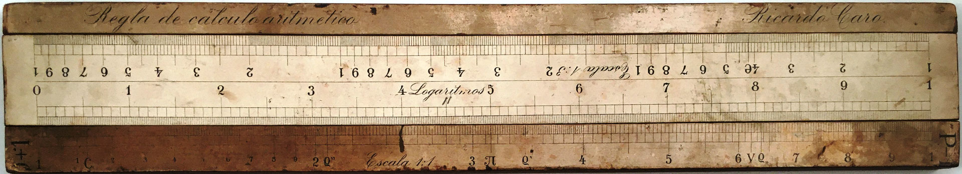 Regla de cálculo aritmético R. CARO, escala logaritmos frente a la escala 1:1 (números)
