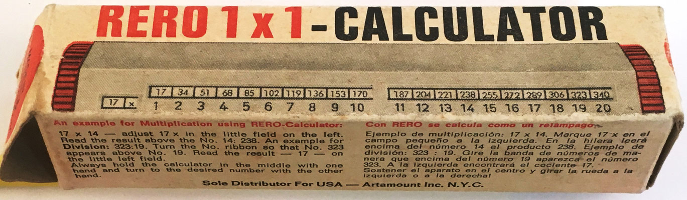 Caja para alojar el cilindro multiplicador marca RERO, con instrucciones de uso en el exterior de la misma