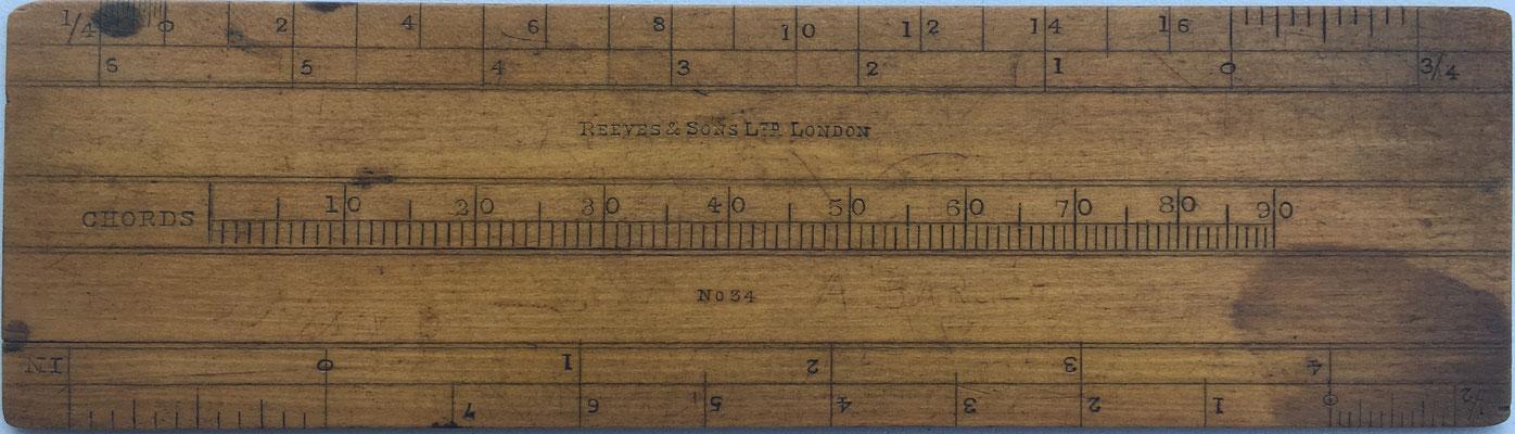 Reverso del transportador REEVES, Reeves & Sons Ltd London, se utiliza junto con el Sector para navegación y realización de cálculos