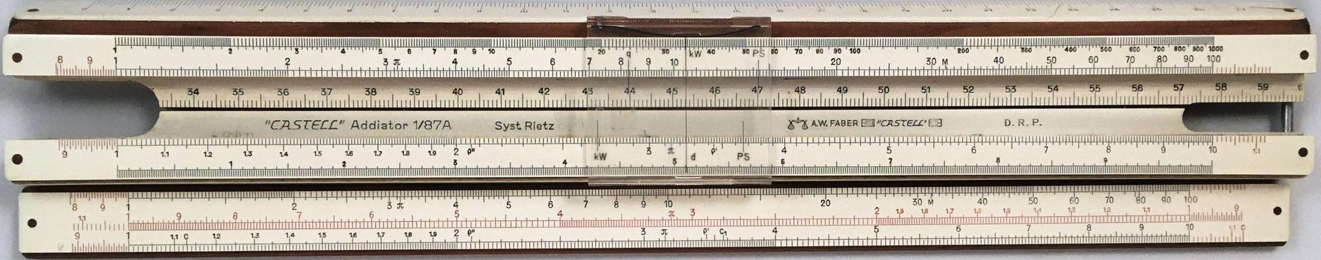 Anverso de la regla combinada FABER-CASTELL 1/87A y de la reglilla, sistema Rietz para ingenieros, arquitectos, maestros de taller y capataces