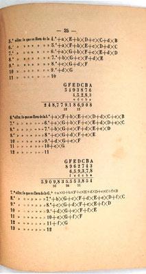 Página 25 del libro: ejemplo de multiplicación de dos factores de siete y cinco cifras respectivamente, y de siete y seis cifras respectivamente