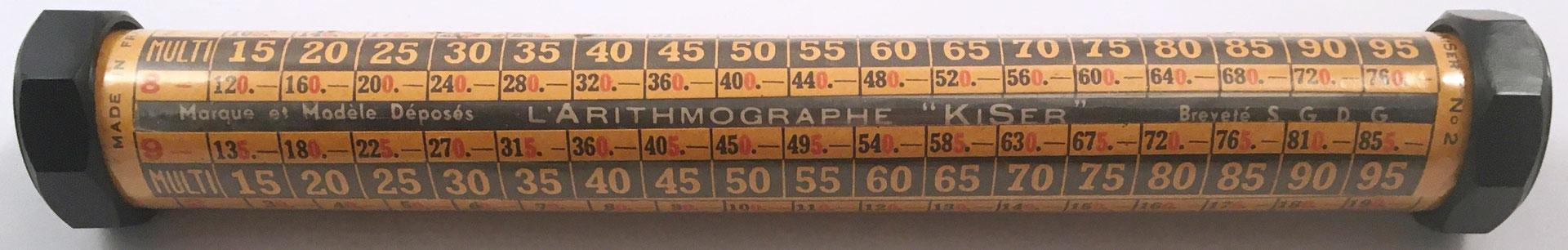 "L'Arithmographe ""KISER"" modelo nº 2, año 1920, 21 cm largo x 3 cm diámetro"