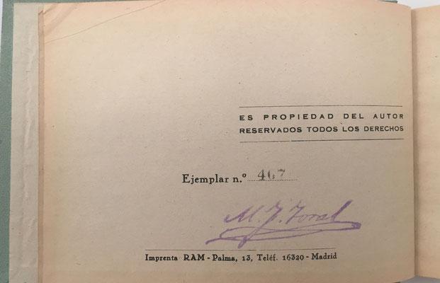 Volúmen III de PRÁCTICAS CON LA REGLA DE CÁLCULO de FERNÁNDEZ TORAL, ejemplar nº 467, año 1943, 293 páginas